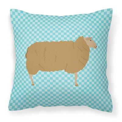 Sheep Check Square Outdoor Throw Pillow Color: Blue