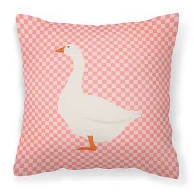 Goose Check Square Fabric Outdoor Throw Pillow Color: Pink