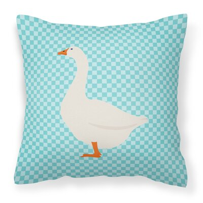 Goose Check Square Fabric Outdoor Throw Pillow Color: Blue