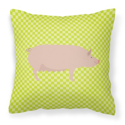 English Large Pig Check Outdoor Throw Pillow Color: Green