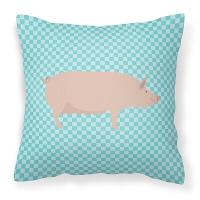 English Large Pig Check Outdoor Throw Pillow Color: Blue