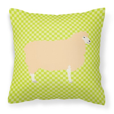 English Leicester Longwool Sheep Check Outdoor Throw Pillow Color: Green