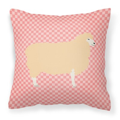 English Leicester Longwool Sheep Check Outdoor Throw Pillow Color: Pink
