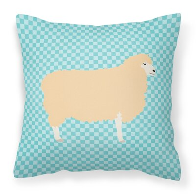 English Leicester Longwool Sheep Check Outdoor Throw Pillow Color: Blue
