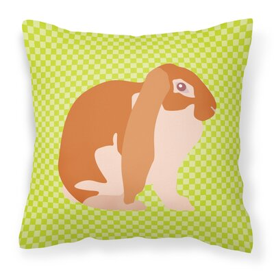 English Lop Rabbit Check Outdoor Throw Pillow Color: Green