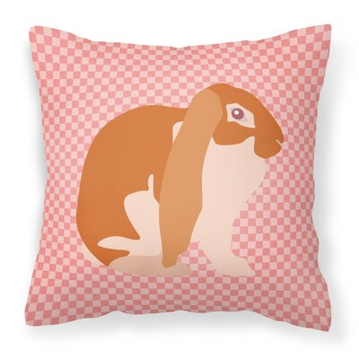 English Lop Rabbit Check Outdoor Throw Pillow Color: Pink