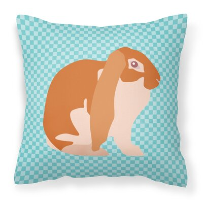 English Lop Rabbit Check Outdoor Throw Pillow Color: Blue