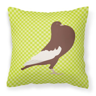 English Pouter Pigeon Check Outdoor Throw Pillow Color: Green