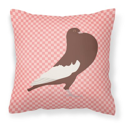 English Pouter Pigeon Check Outdoor Throw Pillow Color: Pink