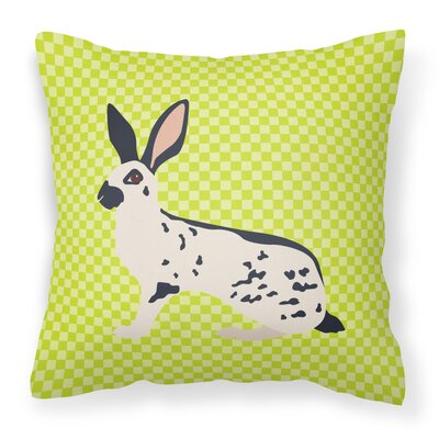 English Spot Rabbit Check Outdoor Throw Pillow Color: Green