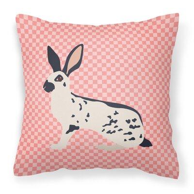 English Spot Rabbit Check Outdoor Throw Pillow Color: Pink