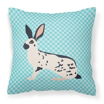 English Spot Rabbit Check Outdoor Throw Pillow Color: Blue