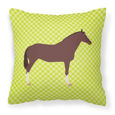 English Thoroughb Horse Check Outdoor Throw Pillow Color: Green