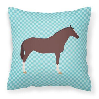 English Thoroughb Horse Check Outdoor Throw Pillow Color: Blue