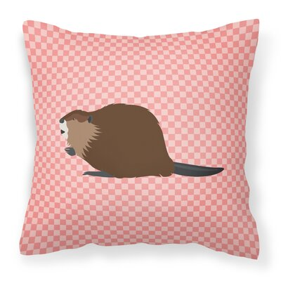 Beaver Check Outdoor Throw Pillow Color: Pink