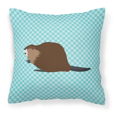 Beaver Check Outdoor Throw Pillow Color: Blue