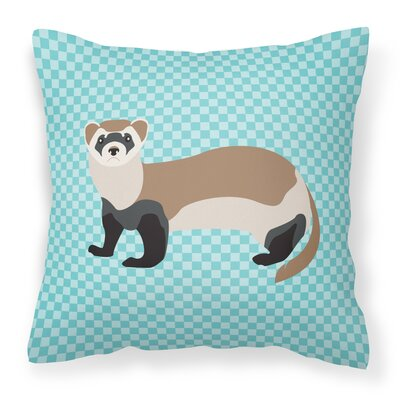 Ferret Check Outdoor Throw Pillow Color: Blue