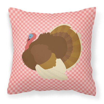 Turkey Dindon Check Outdoor Throw Pillow Color: Pink