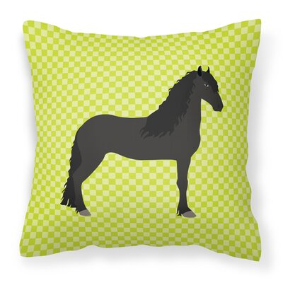Horse Check Outdoor Throw Pillow Color: Green
