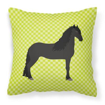 Horse Check Outdoor Throw Pillow Color: Green