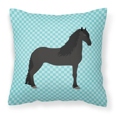 Horse Check Outdoor Throw Pillow Color: Blue