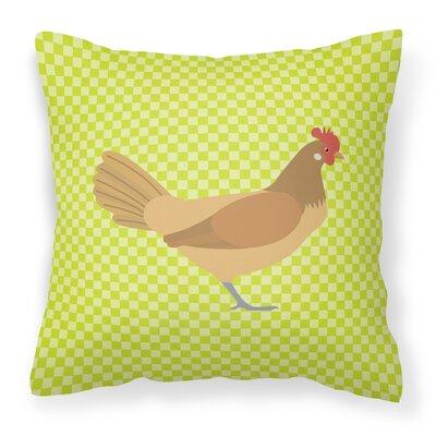 Chicken Check Outdoor Throw Pillow Color: Green
