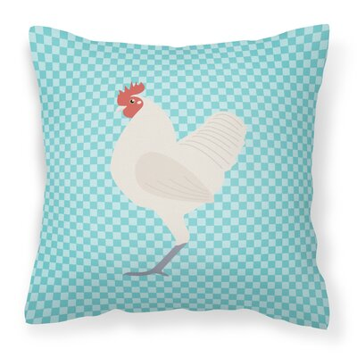 Langshan Chicken Check Outdoor Throw Pillow Color: Blue