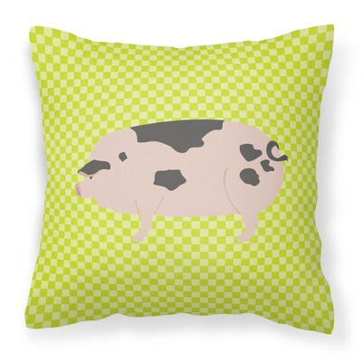 Old Spot Pig Check Outdoor Throw Pillow Color: Green