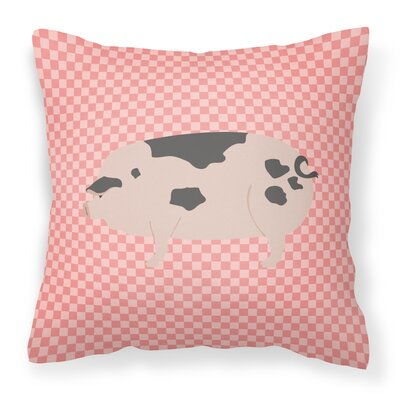 Old Spot Pig Check Outdoor Throw Pillow Color: Pink