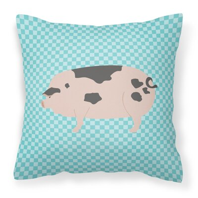 Old Spot Pig Check Outdoor Throw Pillow Color: Blue