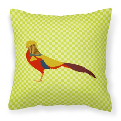 Pheasant Check Outdoor Throw Pillow Color: Green