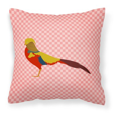 Pheasant Check Outdoor Throw Pillow Color: Pink
