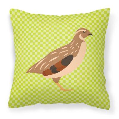 Quail Check Fabric Outdoor Throw Pillow Color: Green