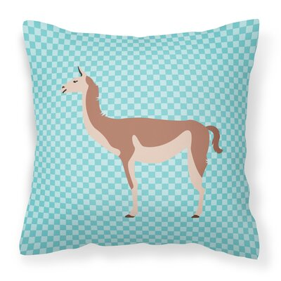 Guanaco Check Outdoor Throw Pillow Color: Blue