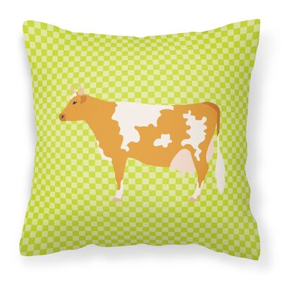 Cow Check Square Outdoor Throw Pillow Color: Green