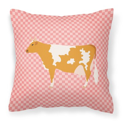 Cow Check Square Outdoor Throw Pillow Color: Pink