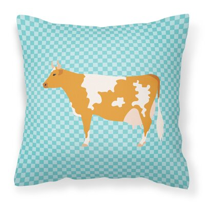 Cow Check Square Outdoor Throw Pillow Color: Blue