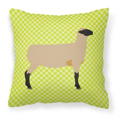 Sheep Check Fabric Outdoor Throw Pillow Color: Green
