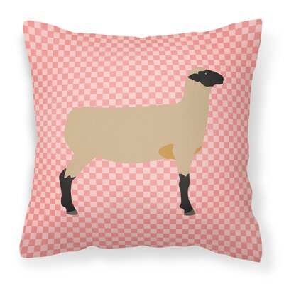 Sheep Check Fabric Outdoor Throw Pillow Color: Pink