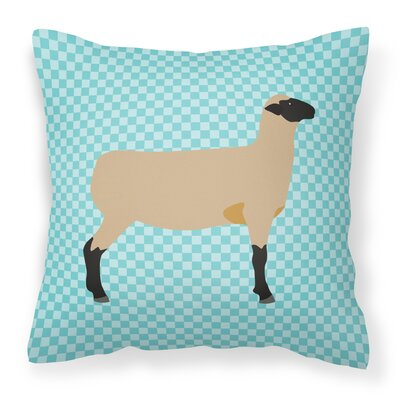 Sheep Check Fabric Outdoor Throw Pillow Color: Blue