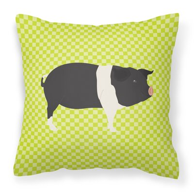 Eclectic Pig Check Outdoor Throw Pillow Color: Green