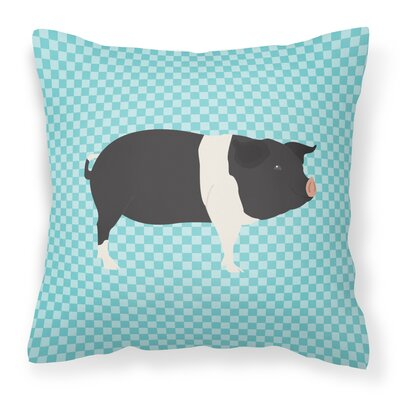Eclectic Pig Check Outdoor Throw Pillow Color: Blue