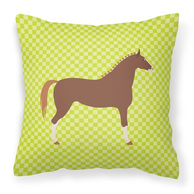 Horse Check Canvas Outdoor Fabric Throw Pillow Color: Green