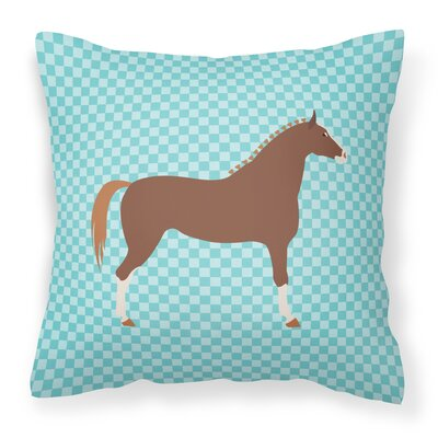 Horse Check Canvas Outdoor Fabric Throw Pillow Color: Blue