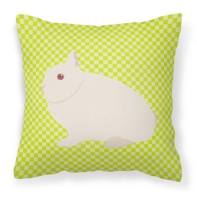Rabbit Check Square Canvas Outdoor Throw Pillow Color: Green