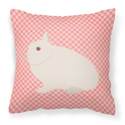 Rabbit Check Square Canvas Outdoor Throw Pillow Color: Pink