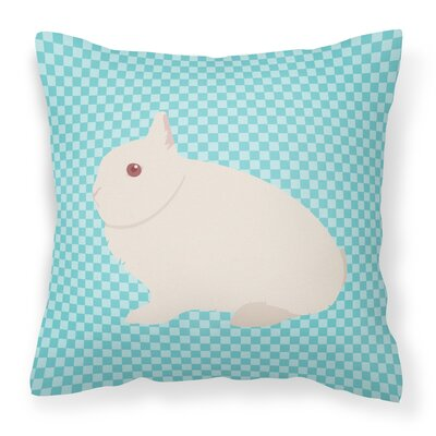 Rabbit Check Square Canvas Outdoor Throw Pillow Color: Blue