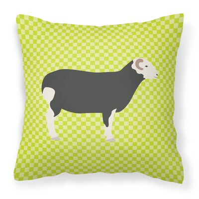 Herwick Sheep Check Outdoor Throw Pillow Color: Green