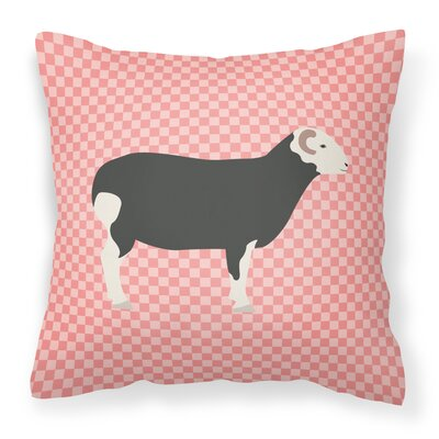 Herwick Sheep Check Outdoor Throw Pillow Color: Pink