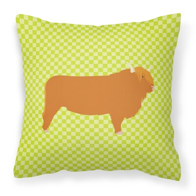 Cow Check Outdoor Throw Pillow Color: Green